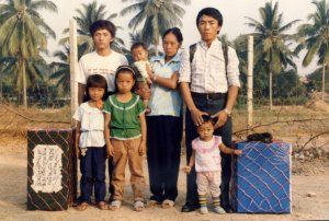 Hmong family in a refugee camp